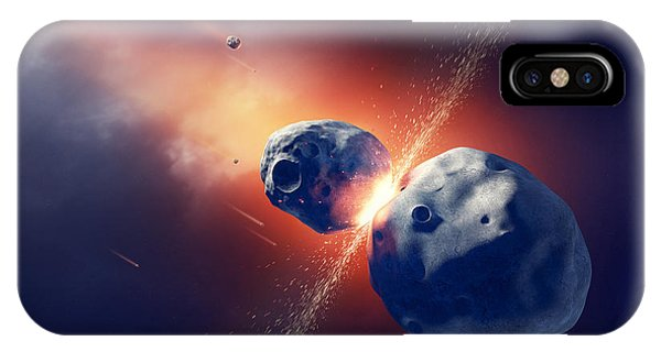 Explosion iPhone X Case - Asteroids Collide And Explode  In Space by Johan Swanepoel