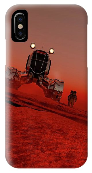 Astronaut And Vehicle On Mars Phone Case by Victor Habbick Visions