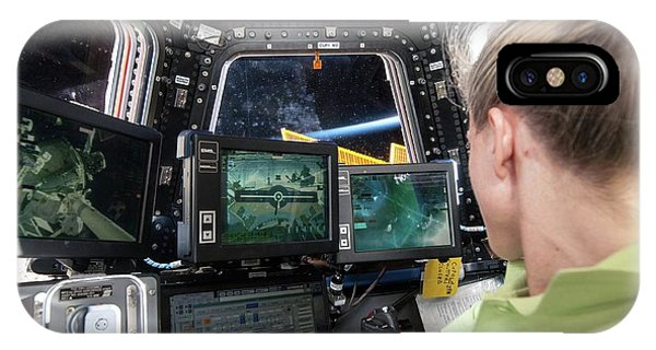 International Space Station iPhone Case - Astronaut In Iss Robotics Workstation by Nasa
