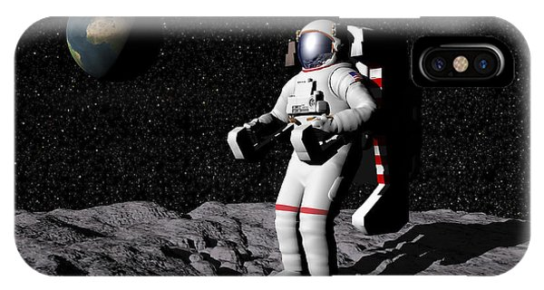Achievement iPhone Case - Astronaut On Moon With Earth by Elena Duvernay
