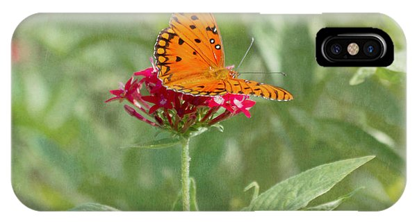 At Rest - Gulf Fritillary Butterfly IPhone Case