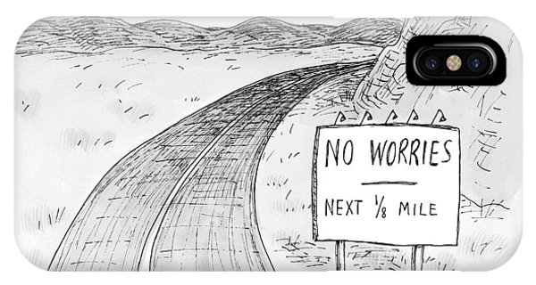 Road Signs iPhone Case - At The Side Of A Stretch Of Rural Road by Roz Chast