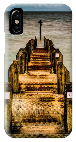 Atlantic Ocean Engulfing A Walkway At Aberystwyth Uk IPhone Case