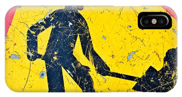 Road Signs iPhone Case - Attention Aux Travaux by Delphimages Photo Creations