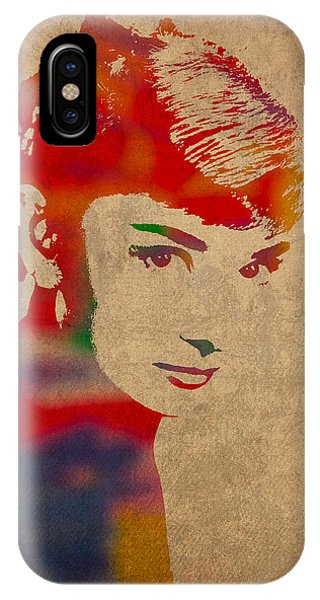 Portraits iPhone X Case - Audrey Hepburn Watercolor Portrait On Worn Distressed Canvas by Design Turnpike