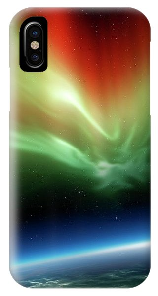 Earth Orbit iPhone Case - Aurora Borealis From Space by Detlev Van Ravenswaay