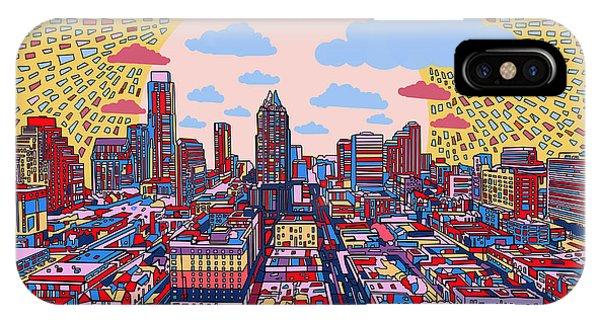 Austin Skyline iPhone Case - Austin Texas Abstract Panorama 2 by Bekim Art