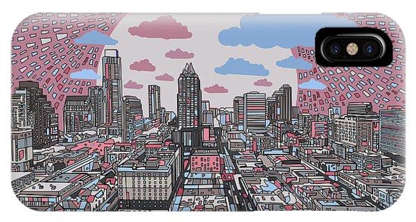 Austin Skyline iPhone Case - Austin Texas Abstract Panorama 3 by Bekim Art