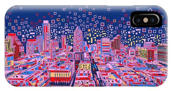 Austin Skyline iPhone Case - Austin Texas Abstract Panorama by Bekim Art