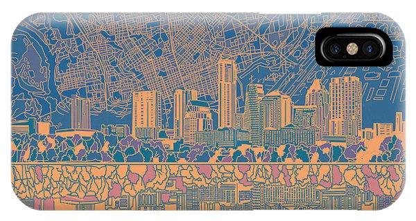 Austin Skyline iPhone Case - Austin Texas Skyline 2 by Bekim Art