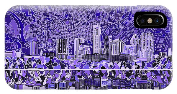 Austin Skyline iPhone Case - Austin Texas Skyline 4 by Bekim Art