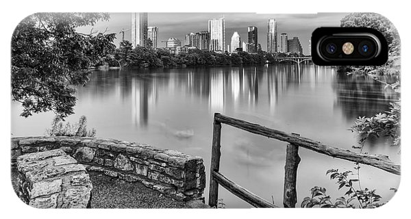 Austin Texas Skyline Lou Neff Point In Black And White IPhone Case
