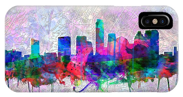 Austin Skyline iPhone Case - Austin Texas Skyline Watercolor 2 by Bekim Art