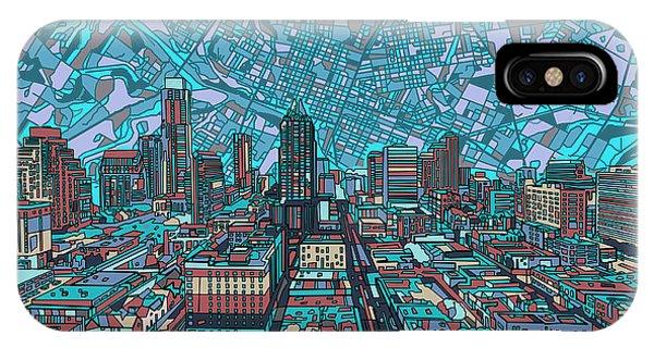 Austin Skyline iPhone Case - Austin Texas Vintage Panorama 4 by Bekim Art