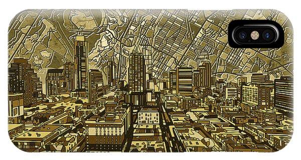 Austin Skyline iPhone Case - Austin Texas Vintage Panorama by Bekim Art