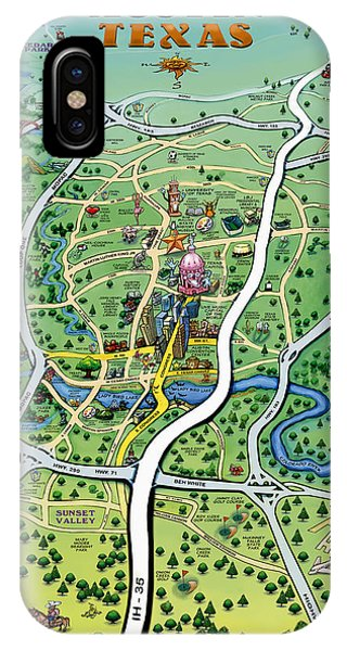 Austin Tx Cartoon Map IPhone Case