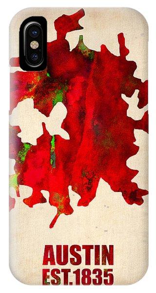 Austin iPhone Case - Austin Watercolor Map by Naxart Studio