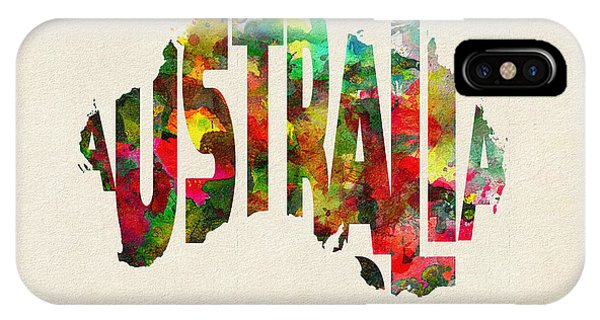 Australia Typographic Watercolor Map IPhone Case