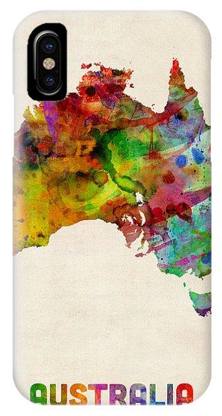 Australia iPhone Case - Australia Watercolor Map by Michael Tompsett