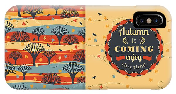 Fall Colors iPhone Case - Autumn Background With Typography by Nadia Grapes