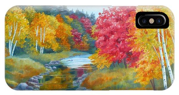 Autumn Blaze With Birch Trees IPhone Case