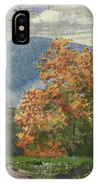 iPhone Case - Autumn Foliage With Two Youths Fishing by