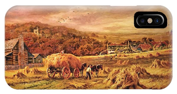 Autumn Folk Art - Haying Time IPhone Case