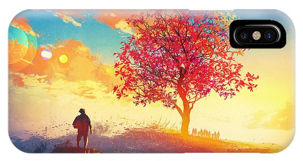 Fall Colors iPhone Case - Autumn Landscape With Alone Tree On by Tithi Luadthong
