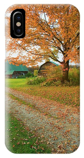 New England Barn iPhone Case - Autumn Leaves, Red Barn And Dirt Path by Panoramic Images