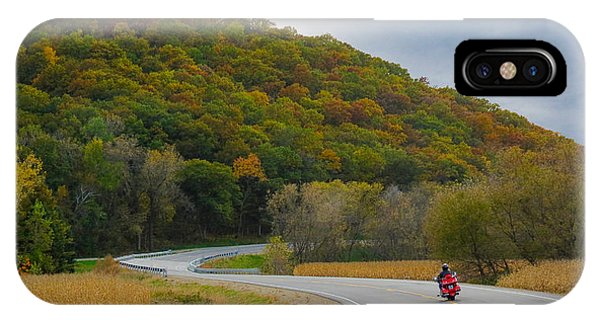 Autumn Motorcycle Rider / Orange IPhone Case