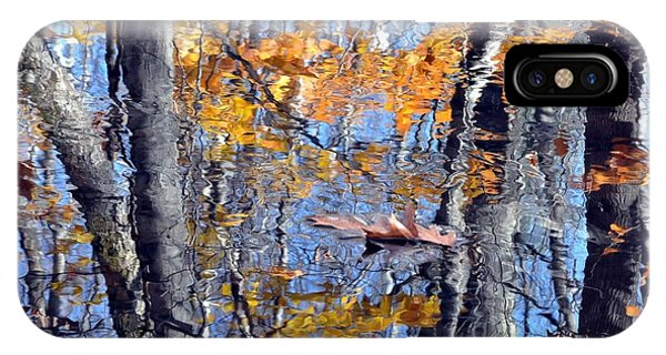 Autumn Reflection With Leaf IPhone Case