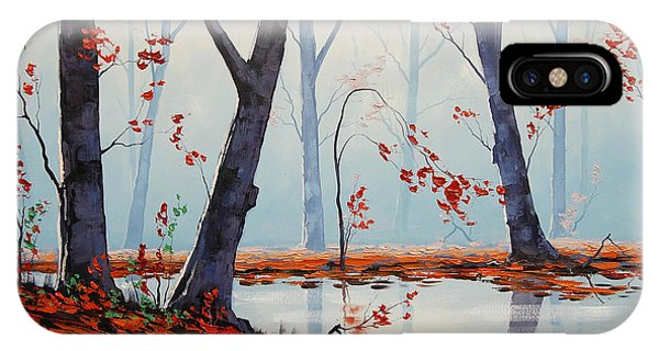Amber iPhone Case - Autumn River Painting by Graham Gercken