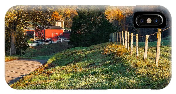 New England Barn iPhone Case - Autumn Road Morning by Bill Wakeley