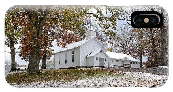 Autumn Snow And Country Church IPhone Case