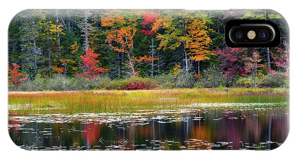 Deciduous iPhone Case - Autumn, Somes Pond, Somesville, Mount by Michel Hersen