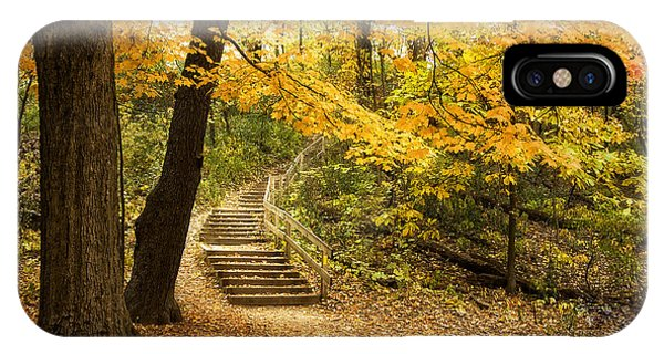 Orange Color iPhone Case - Autumn Stairs by Scott Norris
