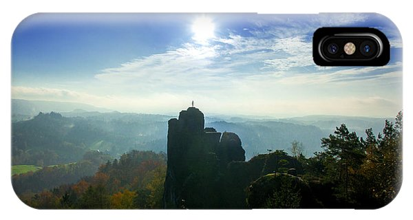 Autumn Sunrise In The Elbe Sandstone Mountains IPhone Case
