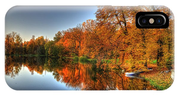 Autumn Trees Over A Pond In Arkadia Park In Poland IPhone Case