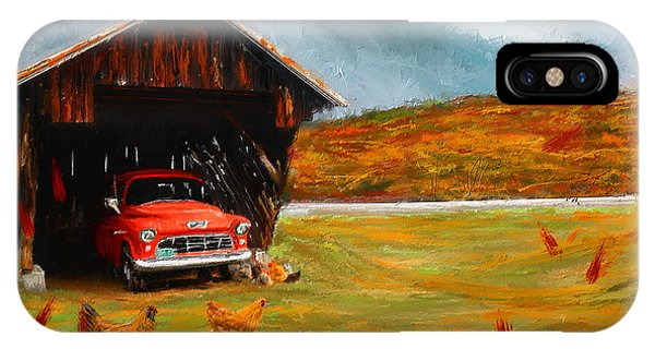 New England Barn iPhone Case - Autumnal Restful View-farm Scene Paintings by Lourry Legarde