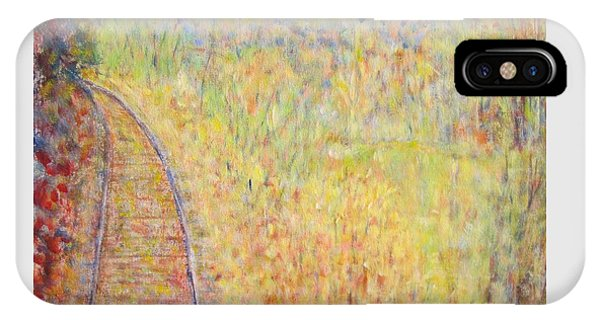 Autumns Maple Leaves And Train Tracks IPhone Case