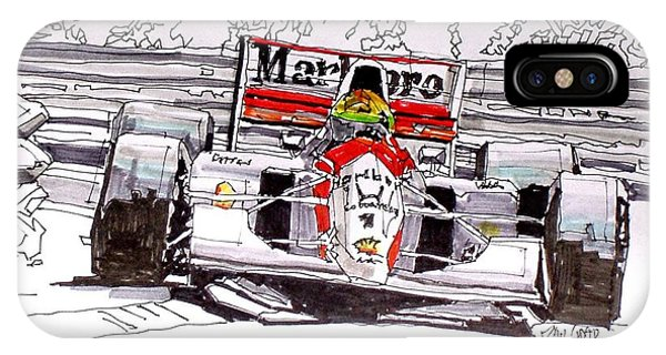 iPhone Case - Ayrton Senna Mclaren French Grand Prix by Paul Guyer