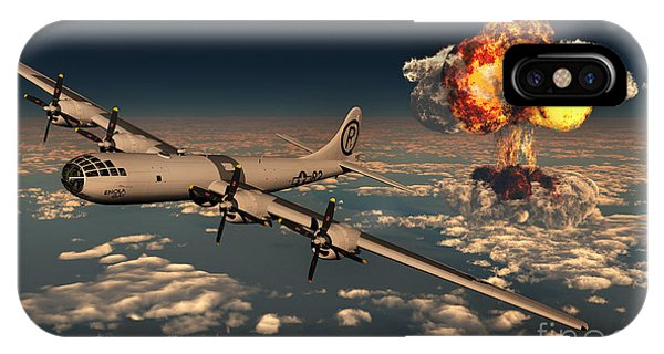 Explosion iPhone X Case - B-29 Superfortress Flying Away by Mark Stevenson