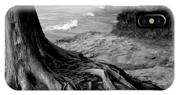 B And W Cedar Roots At Cave Point IPhone Case