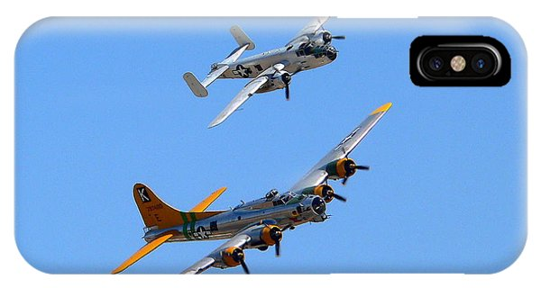 IPhone Case featuring the photograph B25 Mitchell And B17 Flying Fortress by Jeff Lowe