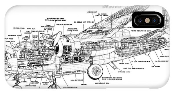 B25 Mitchell Schematic Diagram IPhone Case