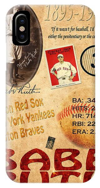 Boston Red Sox iPhone Case - Babe Ruth by Andrew Fare