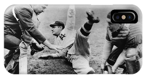 Babe Ruth iPhone Case - Babe Ruth Slides Home by Underwood Archives