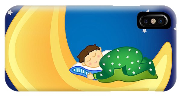 Pajama iPhone X Case - Baby Boy Sleeping On The Moon by Sylvie Bouchard