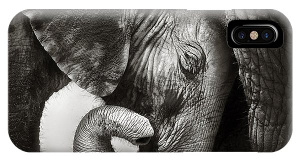 Monochrome iPhone Case - Baby Elephant Seeking Comfort by Johan Swanepoel