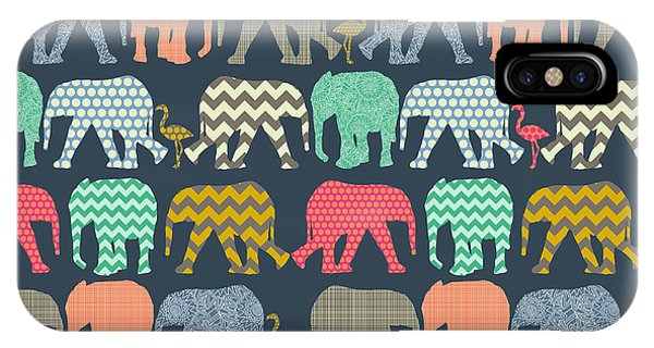 Baby Elephants And Flamingos IPhone Case